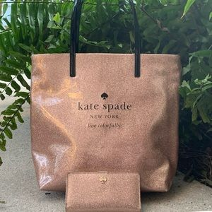 Kate Spade Pink Sealed Glitter Tote & Wallet Set